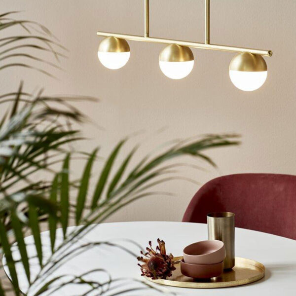 Brass Pendant Light with 3 sphere lamps by Nordlux