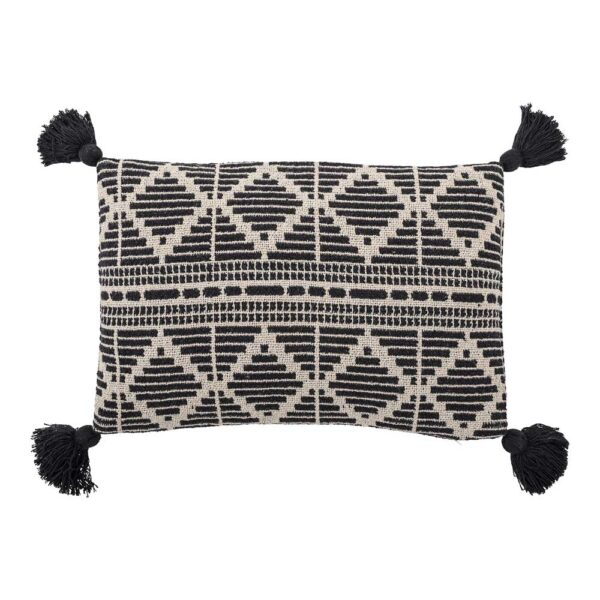 Cushion Black Recycled Cotton by Bloomingville