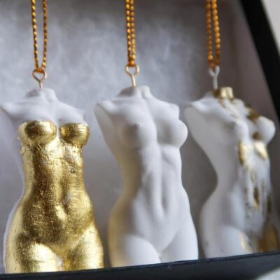 Hanging muse goddess ornaments gold by Sainté