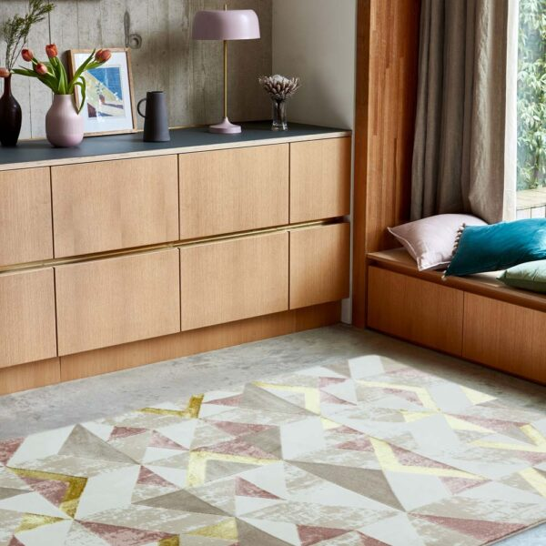Orion Flag pink rug by Asiatic carpets