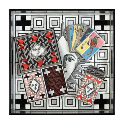 Poker face square lacquer tray by Christian Lacroix