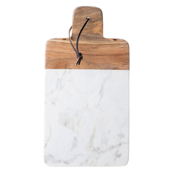 cutting board white marble and wood by Bloomingville