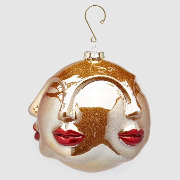 gold face bauble with red lips by EDG