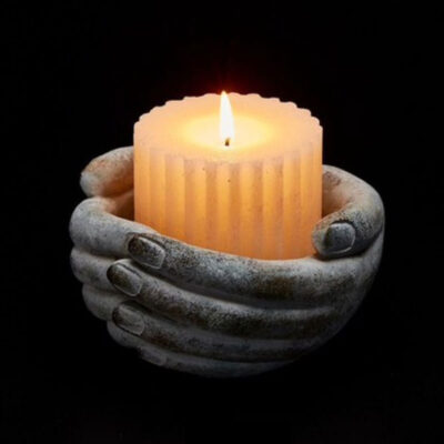 hand concrete tealight holder by EDG