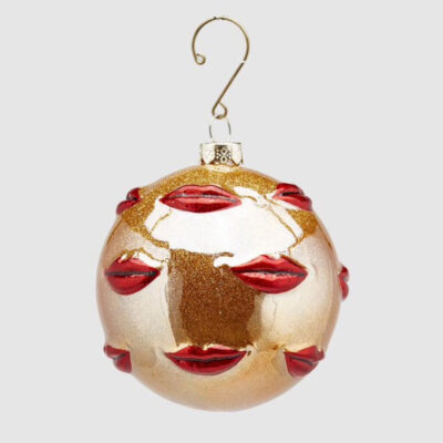 glass gold bauble with red lips by EDG