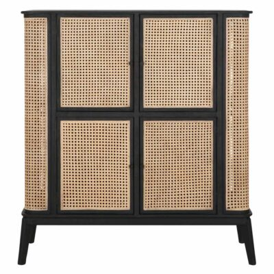 rattan cabinet with black wooden frame by Must Living