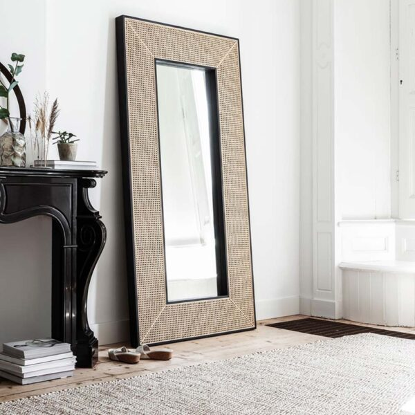 full length rattan mirror with black wooden frame by Must Living