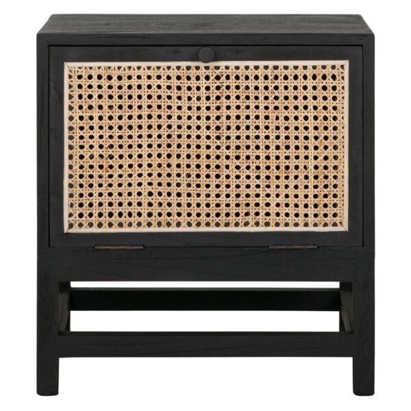 rattan night stand with black wooden frame by Must Living