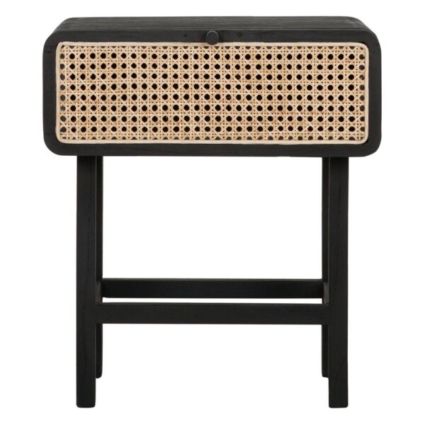 rattan side table with black wooden frame by Must Living