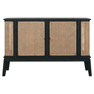 rattan sideboard with black wooden frame by Must Living