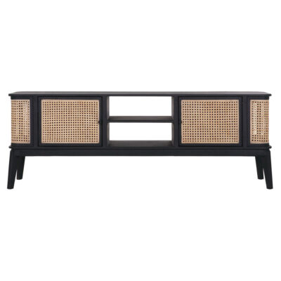 rattan TV Stand with black wooden frame by Must Living