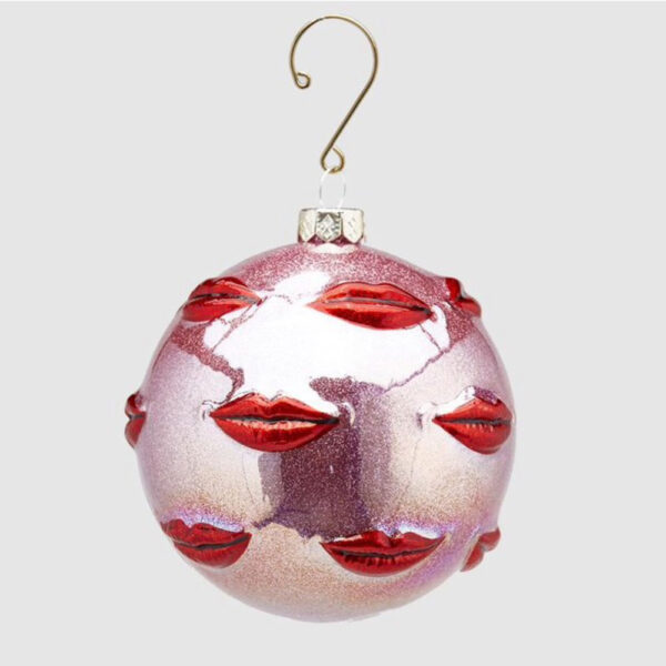 pink glass kiss bauble by EDG