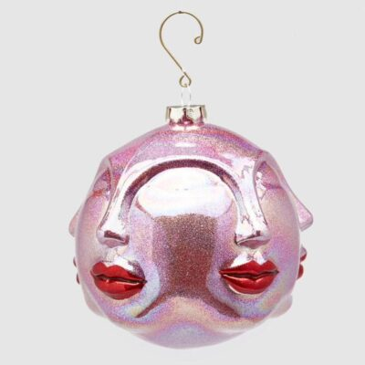 purple faces glass bauble with red lips by EDG
