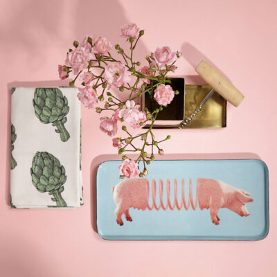 blue rectangular trinket tray with pig by Gangzai