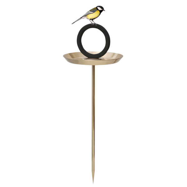 round goldrplated bird bath by Born in Sweden