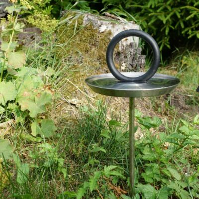 round stainless steel bird bath by Born in Sweden