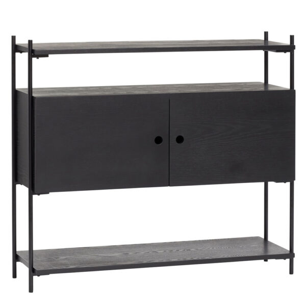 Ash Wood Black Console Table by Hubsch