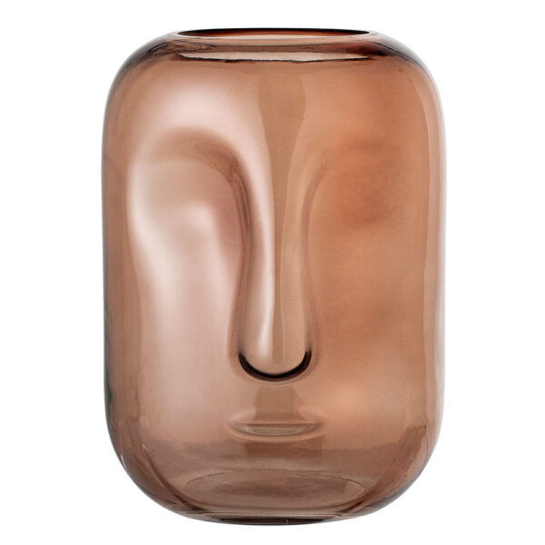 Brown Glass Face vase by Bloomingville