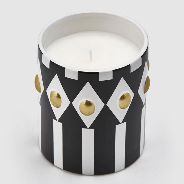 Ceramic black and white candle