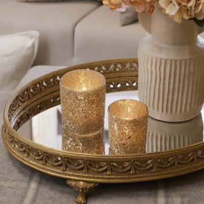 gold tray mirror