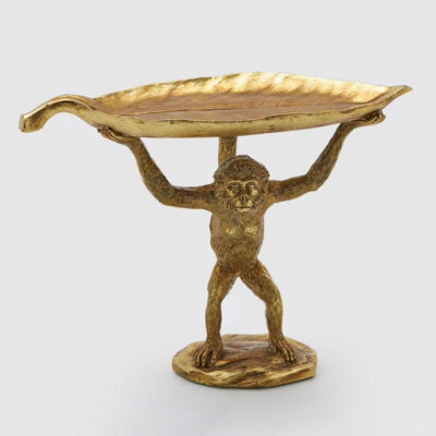 gold Monkey with leaf trinket tray