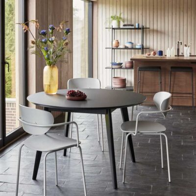 Oak Round Dining Table Black by Hubsch