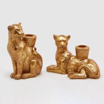 gold Panther candle holders