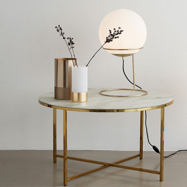 Short Floor Lamp Brass & White by Hubsch
