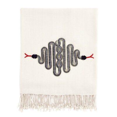 Snake embellished throw by Jonathan Adler