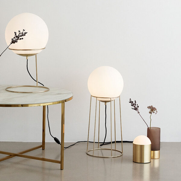 Tall Floor Lamp Brass & White by Hubsch