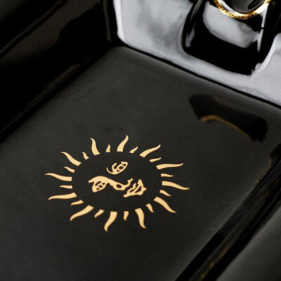 Trinket tray ashtray black sun by Casacarta