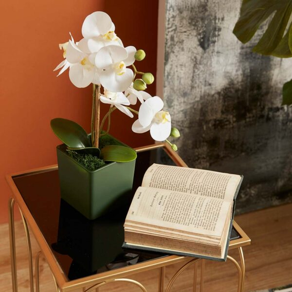 artificial Orchid with black vase
