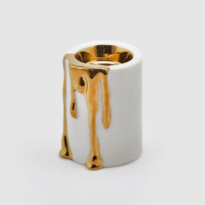candle holder gold grey porcelain