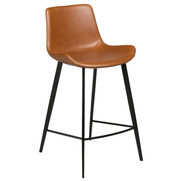 hype counter stool vintage light brown art leather with black metal legs