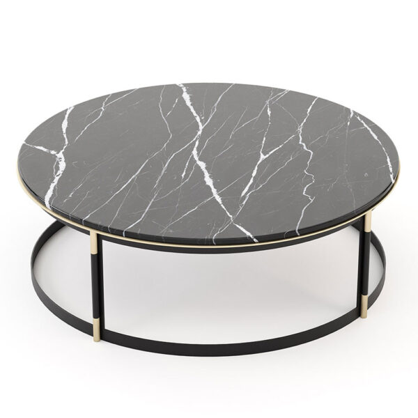 Black marble round coffee table by Laskasas