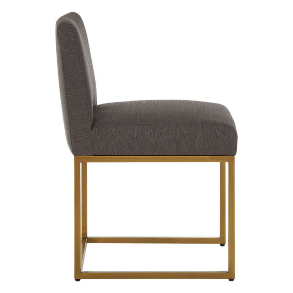 mae grey dining chair with golden legs