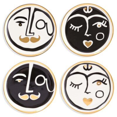 marseilles set of 4 coasters with faces by Jonathan Adler