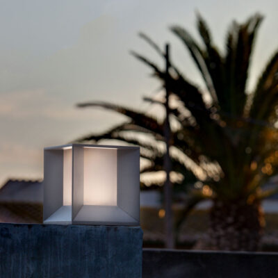 mila LED dark grey post lamp by Faro