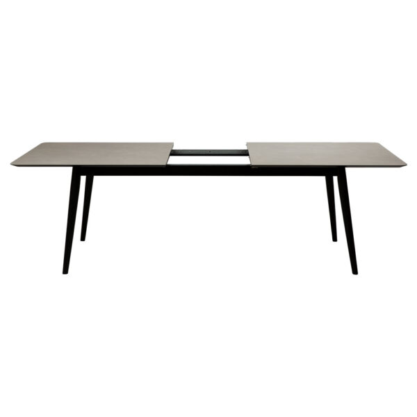 passo table light grey ceramic with black stained ash legs