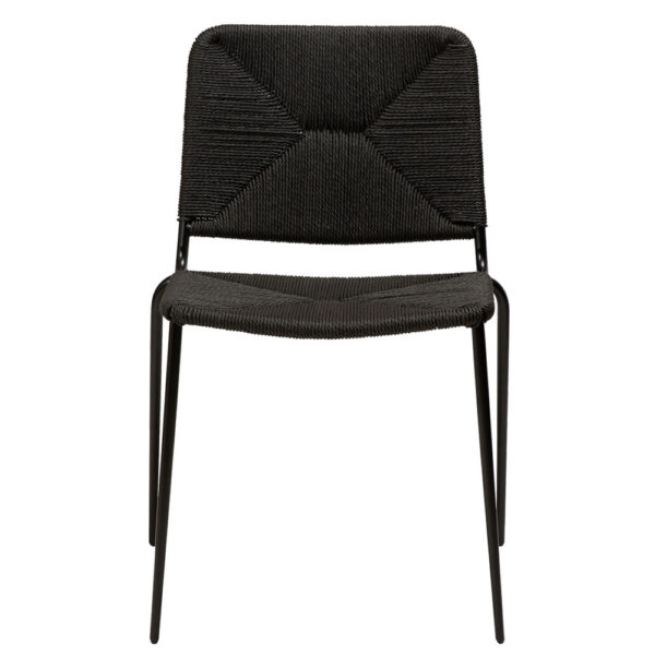 stiletto chair black paper cord with black metal legs
