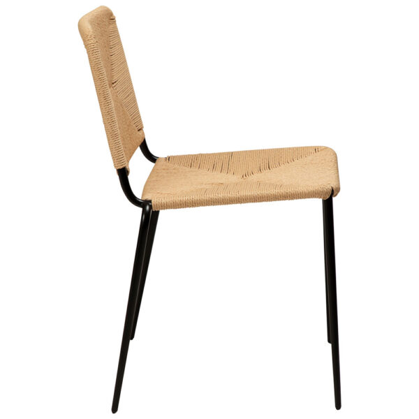stiletto chair natural paper cord with black metal legs