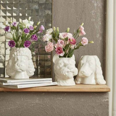 white dog vases set of 3