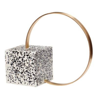 Bookend metal terrazzo brass by Hubsch