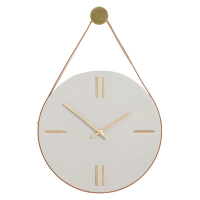 Clock concrete leather light grey brown by Hubsch