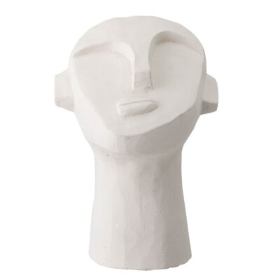 Deco Sculpture Face white cement by Bloomingville