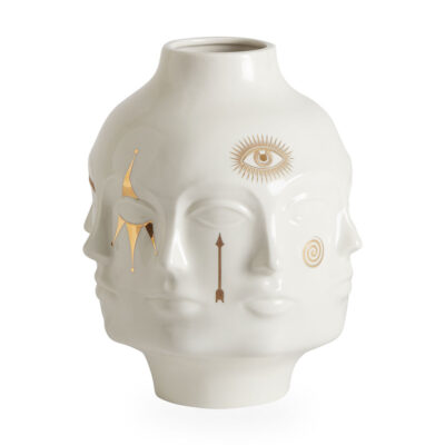 White Gilded Vase with gold details by Jonathan Adler