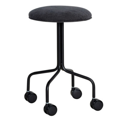 Stool with wheels metal polyester black by Hubsch