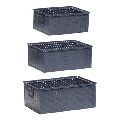 Storage box with handle metal grey set of 3 by Hubsch