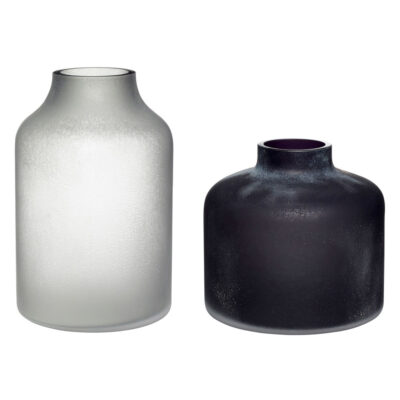Vase frosted glass black white by Hubsch