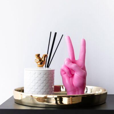 Victory pink hand candle